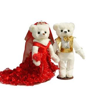 拖尾婚纱情侣泰迪熊一对